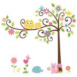 STOPPED. SOLD OUT !!  Owl Scroll Tree Wall Sticker  50*70cm